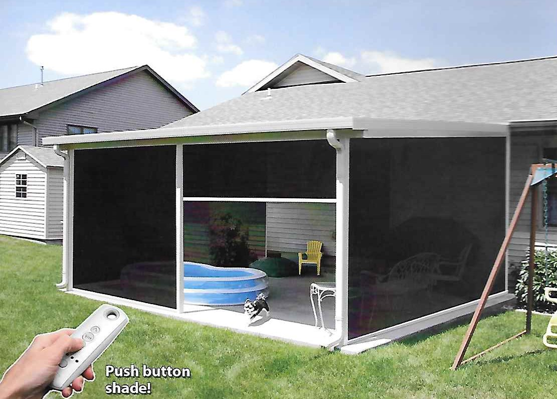 Retractable motorized screens l f pease company for Retractable patio screens