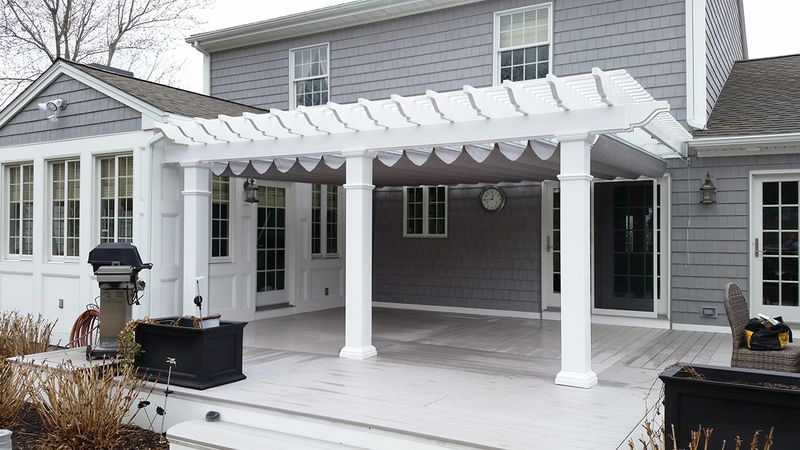 Mount Sunbrella Fabric on a track under Existing Pergola for sun u0026 light rain protection & Rectractable u0026 Pergola Canopies: L.F.Pease Company